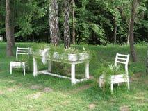 Möbel als Blumenbeete Stockbild