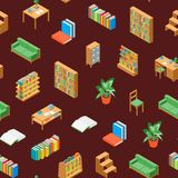 Möbel für nahtloser Muster-Hintergrund-isometrische Ansicht der Bibliotheks-3d Vektor Lizenzfreie Abbildung