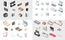 Möbel für Wohnung Isometrisches flaches 3D lokalisierte Konzeptvektorcutaway lizenzfreies stockbild
