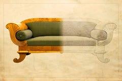 Möbel-Herstellung - Konzept des Entwurfes von der Zeichnungsskizze zu fertigen Möbeln Lizenzfreie Stockfotos