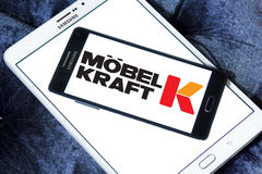 Möbel Kraft logo. Logo of the international chain of furniture stores Möbel Kraft on samsung mobile on samsung tablet Stock Image