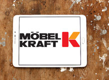 Möbel Kraft logo. Logo of the international chain of furniture stores Möbel Kraft on samsung tablet on wooden background Royalty Free Stock Images