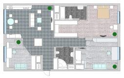 Möbel sind auf Architektenplan Stockfoto