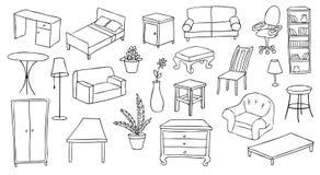 Möbel- und Dekorationset Lizenzfreie Stockfotos