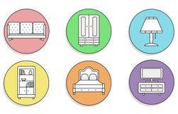 Möbelikonen eingestellt Schön auf einem farbigen, runden Hintergrund stock abbildung
