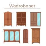 Möbelkarikatur-Vektorillustration Flache Art der hölzernen Garderobe lokalisierte die eingestellten Ikonen stock abbildung