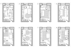Möbelplan von childs Raum Grundrisssymbol als Architekturgestaltungselemente stock abbildung