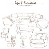 Möbelsammlungs-Skizzenzeichnungsvektor Stockbilder