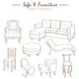 Möbelsammlungs-Skizzenzeichnungsvektor Lizenzfreie Stockbilder