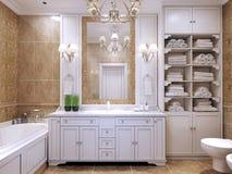 Möblemang i klassiskt badrum Arkivfoto