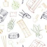 Möblemang, lampor och växter för hemmet stock illustrationer