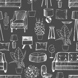 Möblemang, lampor och växter för hemmet seamless vektor för modell royaltyfri illustrationer
