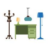 Möblemang lappar vardagsrumlampan, hängaren, symboler för byråvektorlägenhet vektor illustrationer