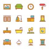 Möblemang och hem- dekorsymbolsuppsättning Arkivbild