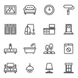 Möblemang och hem- dekorsymbolsuppsättning Arkivfoton