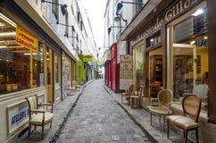Möblemang shoppar på passagen du Chantier i Paris Arkivfoto