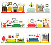 Möblemangidéer för vardagsrum Arkivbild