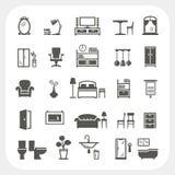 Möblemangsymbolsuppsättning, hemmiljöobjekt stock illustrationer