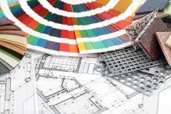 möblera inre materialplan Arkivfoto
