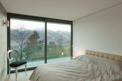 Möbliertes Zimmer, Schlafzimmer Stockbild