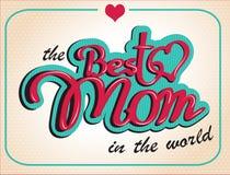Mödrars för tappning lyckligt kort för gåva för dag Det kan vara nödvändigt för kapacitet av designarbete stock illustrationer