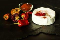 Möglig ost och peppar på en svart bakgrund chili torkade peppar Kryddig möglig ost arkivbilder