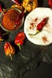 Möglig ost och peppar på en svart bakgrund chili torkade peppar Kryddig möglig ost arkivfoton