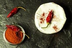 Möglig ost och peppar på en svart bakgrund chili torkade peppar Kryddig möglig ost fotografering för bildbyråer