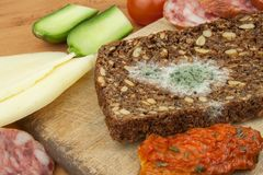 Mögligt bröd i trätabell sjuklig mat spolierad mat Arkivbild