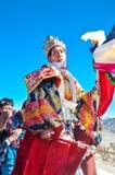 Mönch im Kostüm am Festival in Ladakh Stockfotografie