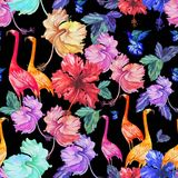 Mönstra blommor, palmträdet och fåglar för sömlös vattenfärg tropiska Royaltyfria Bilder