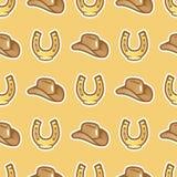 Mönstra cowboyhatten för skicklig ryttare och hästsko på gul bakgrund Den Stetson hatten för cowboy och hästen skor sömlöst stock illustrationer