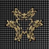 Mönstra den guld- skinande logoen på en genomskinlig bakgrund Guld- smycken för smyckendesignen Royaltyfria Foton