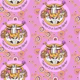 Mönstra Taurus Loving Father med den humoristiska illustrationen för barn och för blommor med inskriften i cirkeln Royaltyfria Foton