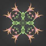 Mönstra traceryen av orange liljor på en svart bakgrund, isolater vektor royaltyfri illustrationer
