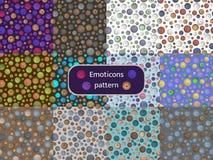 Mönstra uppsättning 09 av sömlösa modeller med bilden av emoticons vektor illustrationer