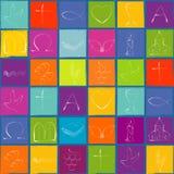 Mönstra vita kristna symboler på kulör schackbrädebakgrund med blåttramen repeatable vektor illustrationer