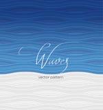 Mönstra vita vågor för blått och, kalligrafi som märker Royaltyfria Bilder