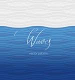 Mönstra vita vågor för blått och, kalligrafi som märker Arkivbild