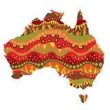 Mönstrad Australien kontinent stock illustrationer