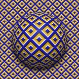 Mönstrad bollrullning längs samma yttersida Abstrakt illustration för optisk illusion för vektor Sömlös modell för rörelse royaltyfri illustrationer