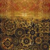 Mönstrad geometrisk texturerad bakgrund för abstrakt begrepp med guld- Royaltyfri Foto