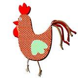 Mönstrad hane på en vit bakgrund Rolig illustration av en si Arkivbild