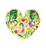 Mönstrad hjärta för valentin med par Arkivfoton
