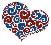 Mönstrad hjärtablått och rött Royaltyfri Fotografi