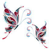 Mönstrad kulör fjäril Afrikan-/indier-/totem-/tatueringdesign Arkivbilder