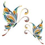 Mönstrad kulör fjäril Afrikan-/indier-/totem-/tatueringdesign Royaltyfri Fotografi