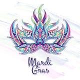 Mönstrad maskering på grungebakgrunden Mardi Gras festival royaltyfri illustrationer