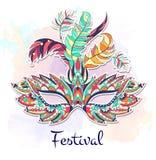 Mönstrad maskering på grungebakgrunden Mardi Gras festival vektor illustrationer