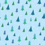 Mönstrad med jultrees vektor illustrationer